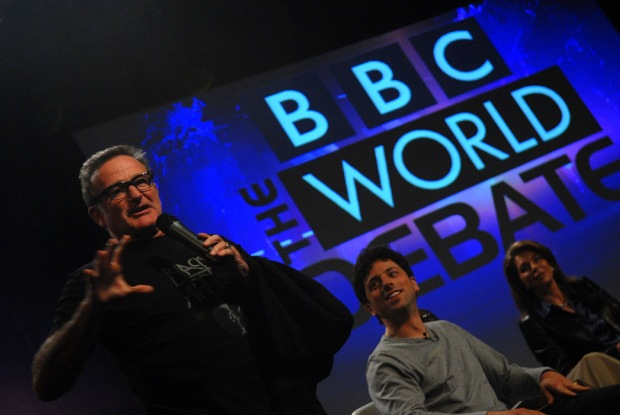 Robin Williams hijacks the TED2008 stage before the BBC World Debate. Photo: Andrew Heavens