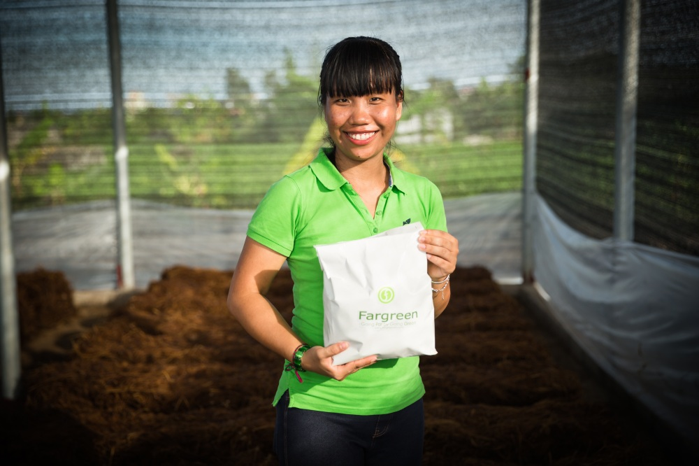 Social entrepreneur Trang Tran is teaching Vietnamese farmers how to use rice straw as a substrate in which to grow profitable mushrooms. Photo: Fargreen